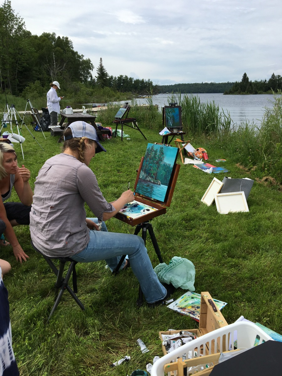 Canadian artist, Melissa Jean demonstrating  at  Falcon Trails Resort 2016 Plein Air Workshop